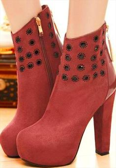 Rivets High Heel Boots For Ladies