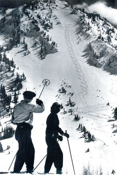 Alta, vintage photo from the Utah State Historical Society. A skier points out the figure recently carved into the snow on Rustler's Mountain Ski Vintage, Vintage Ski Posters, Vintage Winter, Alpine Skiing, Snow Skiing, Ski Ski, Photo Ski, Ski And Snowboard, Snowboarding