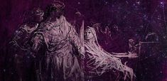 """Shakespeare's ghosts meet quantum entanglement. """"Spectrum appearance of Banquo""""by Gustav Dore (Wikimedia Commons/WikiPaintings) and 'Quantum Space'"""