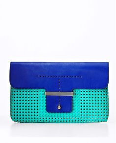 Ann Taylor - Colorblocked Perforated Leather Clutch