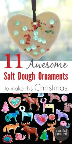 Making salt dough ornaments is a Christmas tradition for many families. Here are 10 salt dough ornaments kids can make plus the salt dough recipe and how to