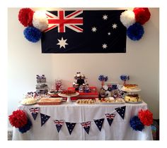 Australia day candy buffet. 21st Party, Birthday Parties, Australian Party, Ruan, Aus Day, Goodbye Party, Happy Australia Day, Aussie Christmas, Going Away Parties