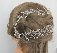 Long Hair Vine bridal Crystal long Vine Crystal wreath by LeraLem