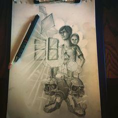 #sketch #drawing #painting #pencil #work #skullpellartwork.com #sinntraegertattoos #leipzig #sketching #steve bauer #pic #art #sketching #drawingtime #skizze #sinntraeger #tattoo #skull #window #fenster #mut