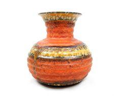 Mid Century Modern West German Pottery Vase Orange Red Yellow Spotted Glaze Made in Germany Ceramics Danish Modern Design Retro Home Decor