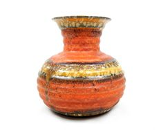 Mid Century Modern West German Pottery Vase Orange Red Yellow Spotted Glaze Made in Germany Ceramics Danish Modern Design Retro Home Decor