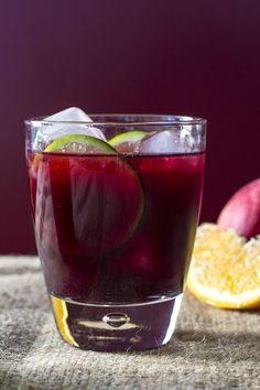 Emeril's red sangria with brandy and oj -1 750 ml bottle #LaCapra Merlot ¼ cup Triple Sec ¼ cup Brandy 2 tablespoons lime juice 2 tablespoons orange juice Apples, Oranges and Lemon for garnish