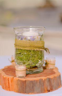 centerpieces, log for centerpiece, burlap and lace theme, burlap candles