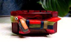 """Vintage 1940's Cherry Amber Bakelite """"Dachshund"""" Dog Figural Stretch Bracelet  #StretchBangle"""