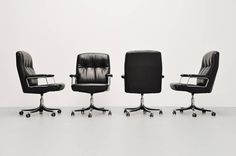 Osvaldo Borsani Executive Office Chairs Tecno, Italy, 1966 | From a unique collection of antique and modern office chairs and desk chairs at https://www.1stdibs.com/furniture/seating/office-chairs-desk-chairs/