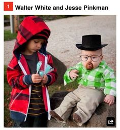 i almost just died... not sure if this is right or not... but it's funny!  Kids Walter White & Jesse Pinkman Costume!!