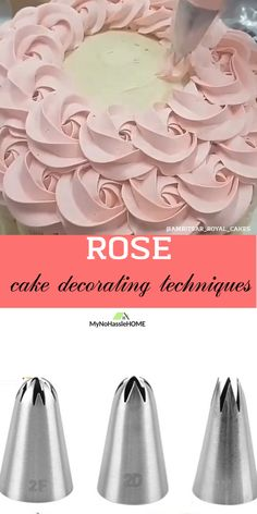 Use piping tips for beautiful cake decoration decorating videos Rose cake decoration Cake Decorating Frosting, Cake Decorating Designs, Creative Cake Decorating, Cake Decorating Videos, Cake Designs, Cookie Decorating, Frosting Tips, Cake Decorating Roses, Cake Frosting Designs