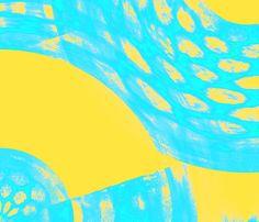 aqua yellow abstract fabric by angelandspot on Spoonflower - custom fabric