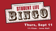 Come play with us tomorrow during your activity hour! | BINGO | Sept. 11 in Iowa Hall