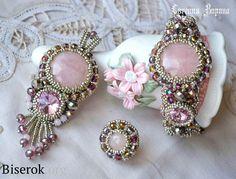браслет, кулон, кольцо, коплект украшений, вышивка бисером, розовый кварц, серебро, оплетение риволи, мастер-класс, мк, МК, схема