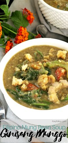 Bean Soup (Ginisang Munggo) Try this healthy and yummy mung bean recipe. This well-known Filipino dish is a hearty soup and it is easy to make and it will comfort your soul. Bean Recipes, Veggie Recipes, Soup Recipes, Vegetarian Recipes, Cooking Recipes, Recipies, Easy Filipino Recipes, Pinoy Food Filipino Dishes, Philippine Cuisine