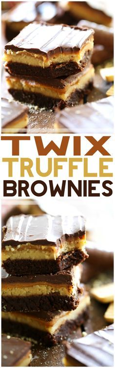 Twix Truffle Brownies from chef-in-training.com …Fudgy brownies topped with a shortbread cookie truffle, gooey caramel and melted chocolate- what could be better?!