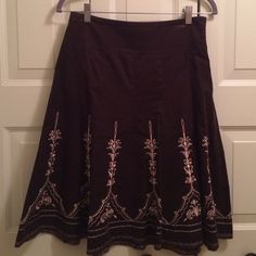 Ann Taylor corduroy skirt with embroidery NWT Ann Taylor brown corduroy skirt with goldish embroidery. NWT Ann Taylor Skirts