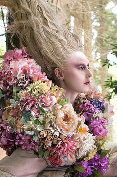 Photographer Kirsty Mitchell Creates Trail Using Fresh Flowers in Latest Installment of Her 'Wonderland' Series Cut Flowers, Fresh Flowers, Flowers Garden, Exotic Flowers, Purple Flowers, Wild Flowers, Fantasy Photography, Fashion Photography, Kirsty Mitchell Wonderland