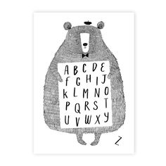 Encourage your little one to learn the alphabet with this Alphabear print from Corby Tindersticks. In black and white tones, this print features an image of a charming bear with alphabet letters fr...