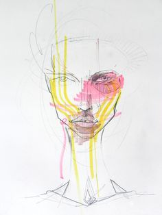 From Faces, pencil and highlighters on paper. Melbourne. 2011
