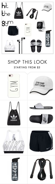 """""""Hit The Gym"""" by clairerose44 ❤ liked on Polyvore featuring Casetify, Tek Gear, adidas Originals, Garmin, NIKE, Master & Dynamic, fitness and hitthegym"""