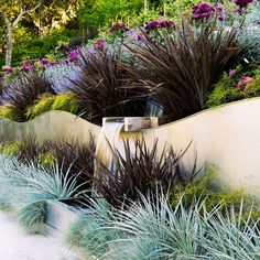 Phormium 'Amazing Red,' silver puya, blue fescue, and threadleaf nandina add geometric contrast to the fluid movement of Baumann's wave wall. 'Ebb Tide' rose and catmint soften the overall look.