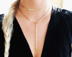 Lariat Necklace Coin Lariat Necklace Chain Drop Lariat Gold