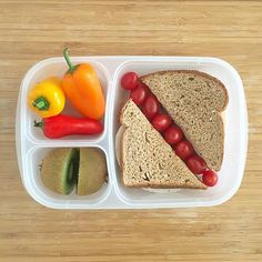 This lunch is brought to you by C, Vitamin C that is. Bell peppers, kiwi fruit, and tomatoes are some of the foods with the highest amounts of the vitamin, which is an essential nutrient that acts as a powerful antioxidant, and is also thought to lower cancer risk.  Alongside these Vitamin C powerhouses, a sandwich made with organic deli turkey, organic sliced whole milk cheese, and mustard on sprouted grain bread.  #lunch #lunchbox #lunchboxideas #lunchboxinspiration #easylunchboxes…