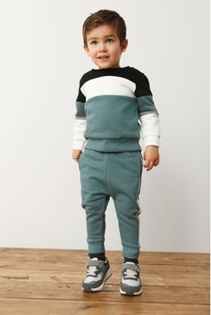 Teal Colour Block Crew and Jogger Set (3mths-7yrs) Boys Joggers, London Spring, Business For Kids, Teal Colors, Color Blocking, Colour Block, Sweaters, Cotton, Sweater