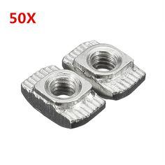 """Suleveâ""""¢ M4TN20 Carbon Steel M4-20 Thread Sliding T-Nuts Screw 10x6x4.3mm 50pcs"""