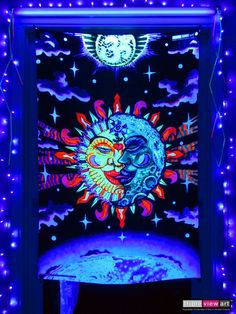 """Magic Sunmoon"" UV-Blacklight Fluorescent Glow Psychedelic Art Backdrop, £90 in Tripleview Art Shop. #psychedelic #psy #goa #trance #psytrance #goatrance #rave #club #festival #trippy #hippie #esoteric #mystic #spiritual #visionary #symbolism #UV #ultraviolet #blacklight #fluorescent #fluoro #fluo #neon #glow #luminescent #art #backdrop #banner #wallhanging #tapestry #deco #sunandmoon #sunmoon #kiss #yinyang #aum #om"