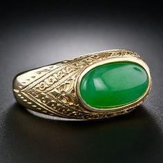 Gents Natural Jade Ring - 30-3-4989 - Lang Antiques