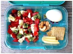 Today's school lunch is caprese salad (with homemade basil pesto and a splash of balsamic vinegar - they are slowing warming up to vinegar), roasted cashews, whole-grain crackers with manchego cheese slices, and a hard-boiled egg. I'm not sure about how the crackers will hold up in the same compartment as the cheese, but the girls didn't seem to mind (plus it's a pretty dry cheese).