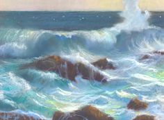 """American Legacy Fine Arts presents """"Thundering Surf at Point Lobos"""" a painting by Peter Adams."""