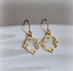 Moroccan Dangle Earrings in Gold, Marrakech Jewelry in brushed vermeil, small, wearable everyday jewelry by Blissaria