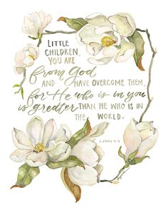 Little children, you are from God and have overcome them, for He who is in you is greater than he who is in the world.- 1 John This reproduction of an origi Bible Verses Quotes, Bible Scriptures, Life Verses, Jesus Quotes, Gouche Painting, Happy Sunday Quotes, Our Father In Heaven, Bible Verse Wallpaper, Favorite Bible Verses