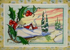 Alida Akers' Storybook Cottage Series - After the Snowfall Art Deco Illustration, Christmas Illustration, Art Illustrations, Cute Cottage, Cottage Art, Vintage Christmas Cards, Christmas Art, Victorian Christmas, Winter Scene Paintings