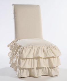 Natural Three Tier Ruffle Dining Chair Slipcover Perfectly Ruffled Shabby Chic Cover