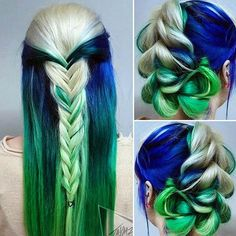 Blue, green, blonde melt! And beautiful styling by @jaymz.marsters #love #beauty #hairaddiction #colorfulhair