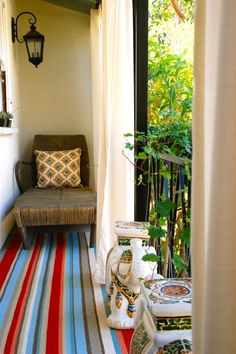 Using curtains on a balcony.