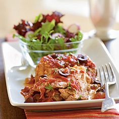 Save Time with Slow Cooker Chicken  | Chicken Thighs with Olives and Tomato Sauce | MyRecipes.com