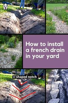 Diy install French drain in your yard. One of the best ways to deal with standing water or water drainage issues on your property is to try this simple French drain diy project Backyard Drainage, Landscape Drainage, Drainage Ditch, Backyard Landscaping, Gutter Drainage, Rock Drainage, Diy Landscaping Ideas, Backyard Privacy, Backyard Designs
