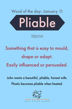 New english word / vocabulary : pliable better english, english vinglish, english lessons, Advanced English Vocabulary, Learn English Grammar, English Writing Skills, English Language Learning, Learn English Words, English Reading, English Lessons, Weird Words, Rare Words