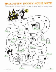 Halloween Kindergarten The Alphabet Mazes Worksheets: Halloween Maze