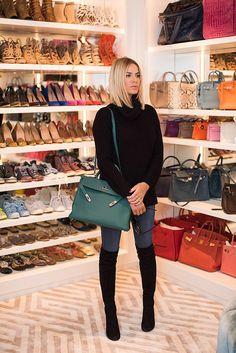 Caroline Stanbury in her gorgeous closet. Loving her Birkins!