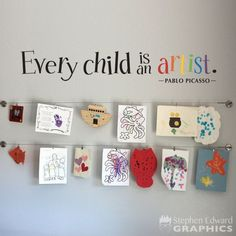 Every Child is an Artist Wall Decal is the perfect addition to your childs artwork display space! Its available as shown, black with rainbow colors for the word artist. The photographs are for a reference be sure to use the measurements when ordering.  Sizes Available: 60 wide by 10 high 48 wide by 8 high 36 wide by 6 high 24 wide by 4 high  Colors Available: Black with Rainbow (pictured) White with Rainbow  Want this decal in just one color??? Click here. https://www.etsy.com/...