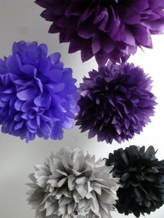 Birthday decor - pom flowers - do in lighter purple / grey tones?