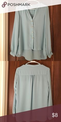 Button up blue blouse Good square buttons. Chiffon material. Long sleeve. Light blue. Worn once. Tops Blouses