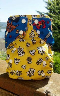 Skulls & Pirates Pocket Cloth Diaper by AnchorBlueBaby on Etsy, $13.00